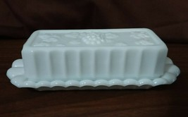 Westmoreland Milk Glass Paneled Grape Quarter Pound Oblong Butter Dish - $18.00