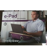 Brookstone e-Pad Portable Laptop Desk Cushion Bamboo/Plum w/ Speakers NIB - $69.29