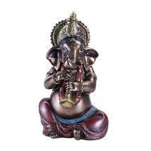 The Hindu Elephant Deity Ganesha Music Band - Sitting Ganesh Playing She... - $16.73