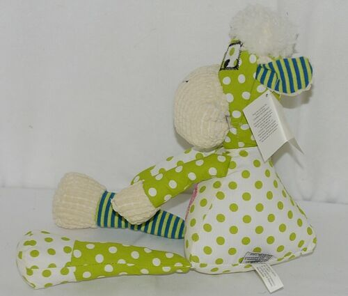 GANZ Brand HE9981 Green and White Polka Dot Color Plush Quiltees Lamb