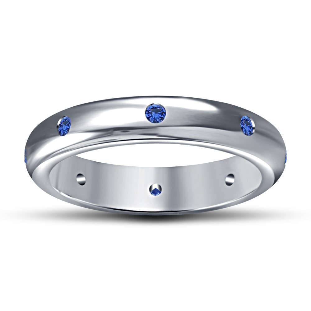 Blue Sapphire White Gold Plated 925 Silver Engagement Wedding Women's Band Ring