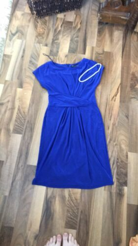 Adrianna Papell Sleeveless Criss Cross Front Back Pleat Size 6 Cobalt Blue Dress