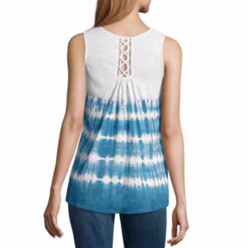 a.n.a. Women's Tye Dye Lace Back Tank Top Black Size X-SMALL New