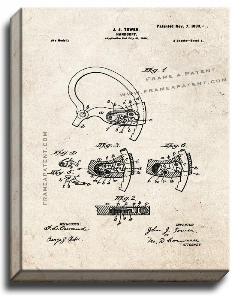 Primary image for Handcuff Patent Print Old Look on Canvas