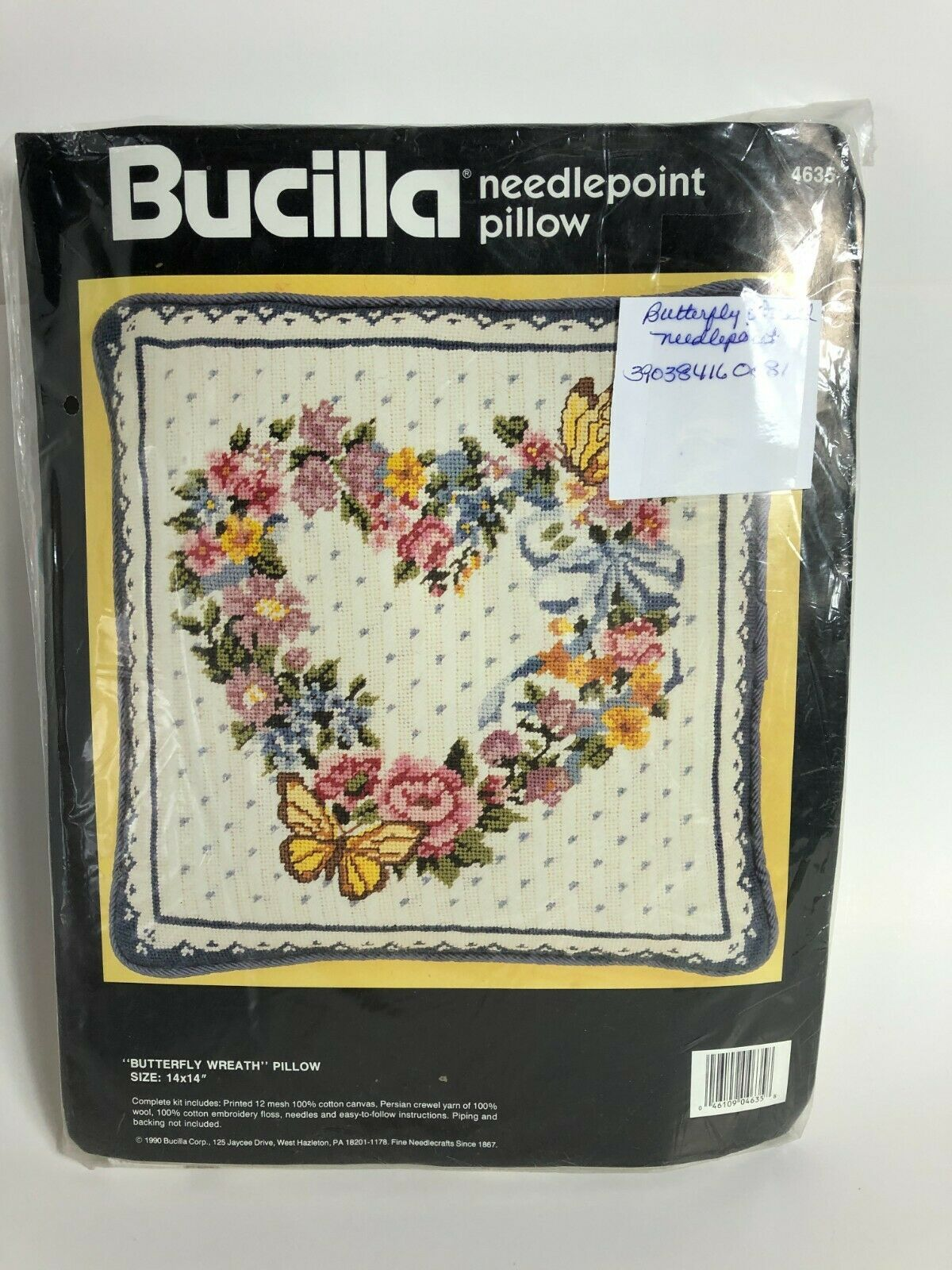 """Bucilla Needlepoint Kit Floral Wreath Picture Pillow 4635 Persian 14 x 14"""" NEW - $59.39"""