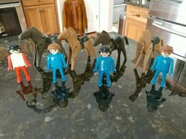 Vintage 1974 Geobra Playmobil Lot of 4 Figures & Four Horses - $19.42