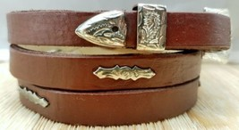 BROWN HATBAND Natural LEATHER with SILVER CONCHOS and BUCKLE SET Cowboy ... - $14.50