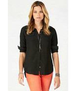 New Womens Designer True Religion 100% Silk Blouse L Black NWT Jet Gold ... - $200.00