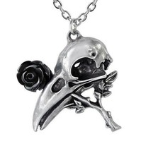 Alchemy Gothic Quietus Raven Crow Skull Black Rose Garden Pewter Pendant... - $19.95