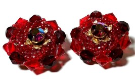 BEAUTIFUL VINTAGE RED GLASS CRYSTAL RHINESTONE BEADED LARGE CLIP IN EARR... - $40.00