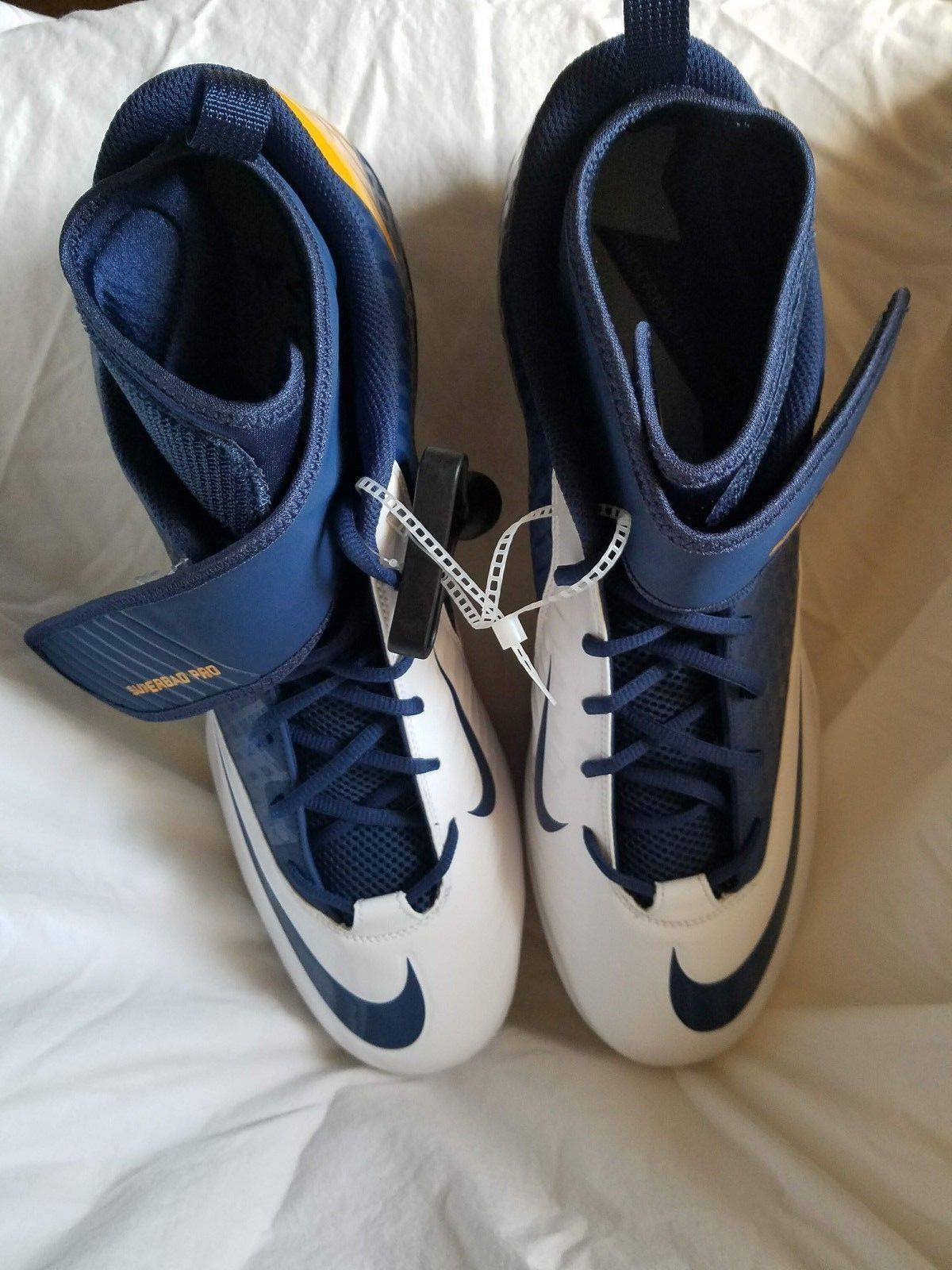 0695ffdf434 Mens Football Cleats Nike Superbad Pro Lunarlon White Blue Size 17