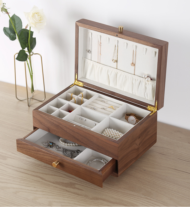 Wood Jewelry Organizer Women Jewelry Box 2-Layered Wooden Gift Case Top Quality