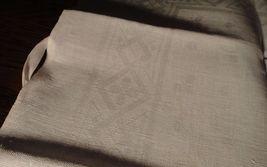 Large vintage antique Irish linen damask hand towel Celtic clover tea dish 40X17 image 6