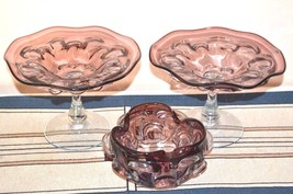 Vintage Amethyst Purple Hand Blown Studio Art Glass Pair of Compotes & Bowl - $148.49