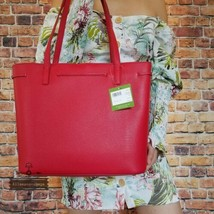 NWT Kate Spade  Hayes Street Nandy Pebbled Leather Tote Bag $298 Royal Red - $150.00