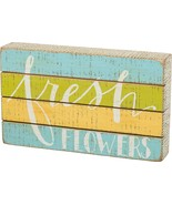 """NEW Fresh Flowers Spring Colors Box Sign 10"""" x 6"""" Primitives by Kathy  - £14.38 GBP"""