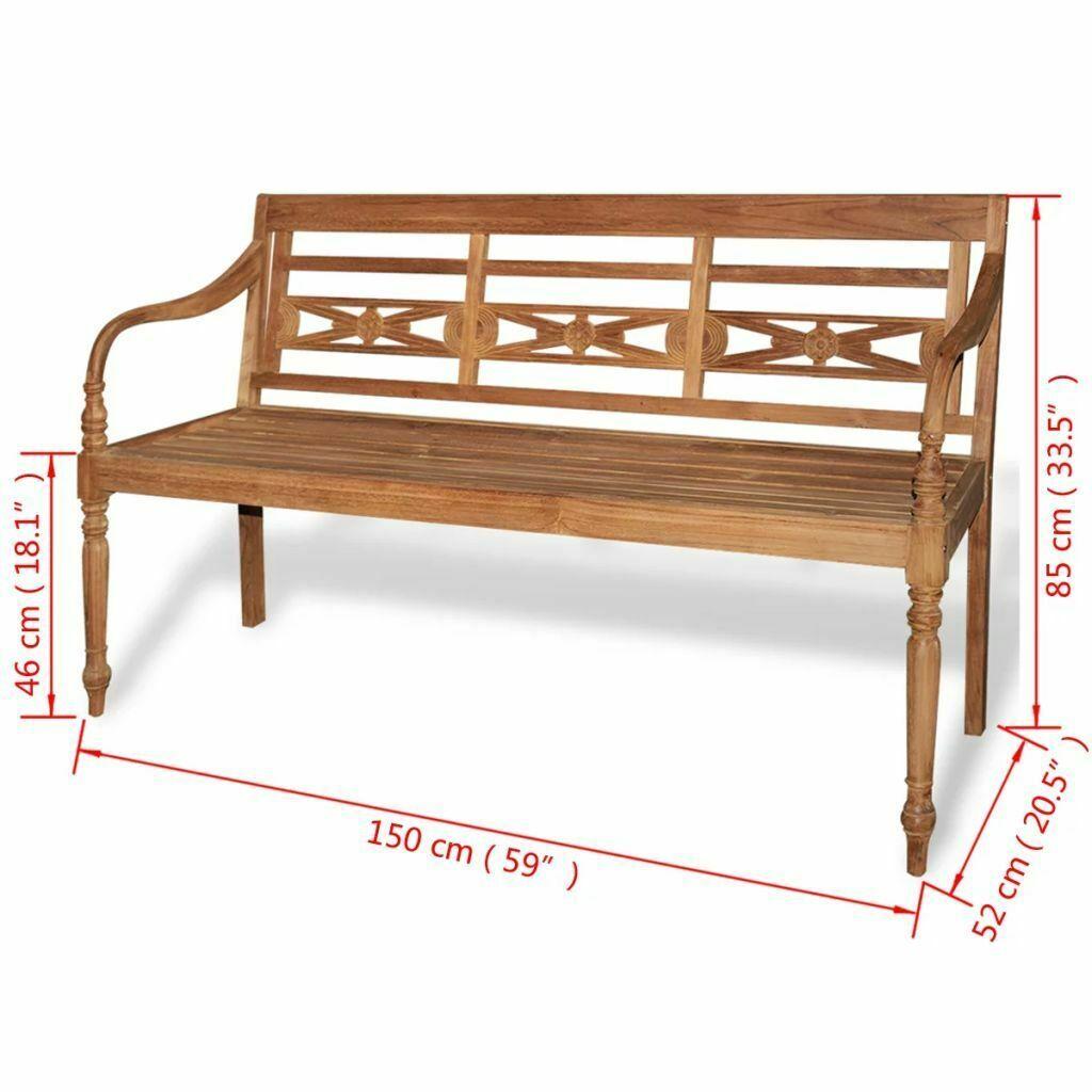 vidaXL Teak Wood Garden Bench Outdoor Home 3-Seater Furniture Patio Park Patio