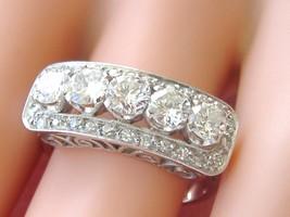Vintage 1-OF-KIND Art Deco 1.08ctw Brilliant Diamond Platinum 5-STONE Ring 1950 - $2,969.01