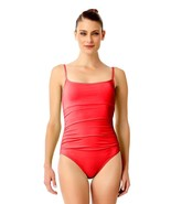 Anne Cole Women's Solid One Piece Shirred Maillot Swimsuit 14 Lipstick R... - $36.10