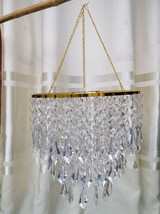 2Pcs 3Tiered Spiral Acrylic Bead Chain Hanging Chandelier Golden Frame - $33.73