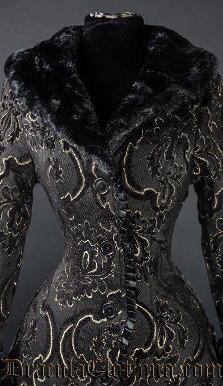 Women's Charcoal Grey Brocade Gothic Victorian Fall Winter Long Steampunk Coat