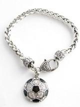 Soccer Ball Black Enamel Clear Crystal Silver Bracelet Jewelry Gift Futball - $12.65
