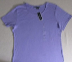 Karen Scott Women Top 0X Lilac Solid Casual  Crew Short Sleeves Cotton 1... - $7.47