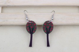 1 pair green tree drop earrings cabin new 2014 cute lovely printing acry... - $10.00
