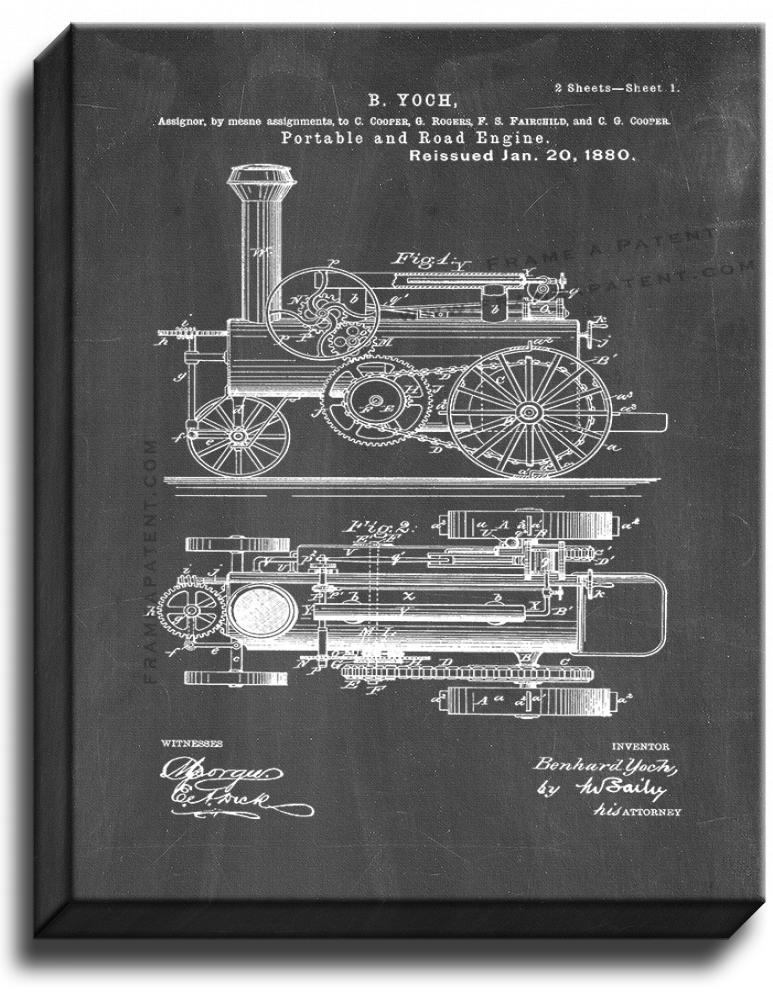 Primary image for Portable And Road Engine Patent Print Chalkboard on Canvas