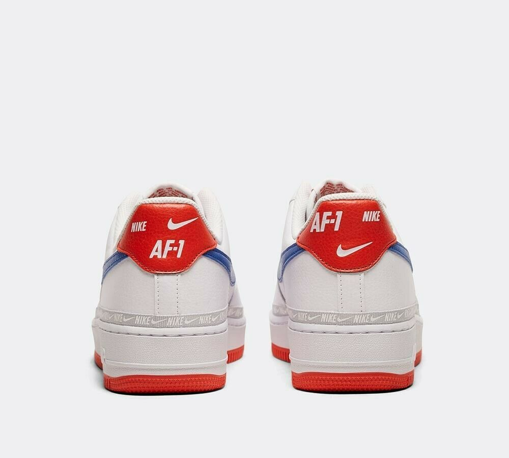 Nike Air Force 1 '07 LV8 Tape Trainer | White / Game Royal / Red Shoes image 5