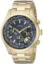 GUESS Men's U0602G1 Gold-tone Chronograph Watch With Iconic Blue Dial - £94.91 GBP