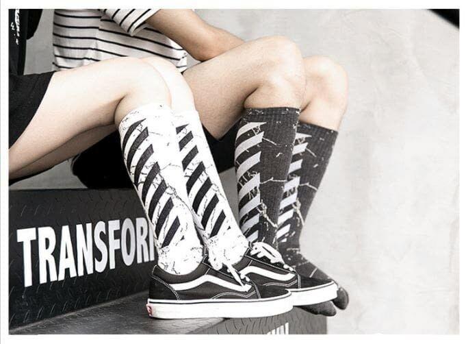 Off-White Virgil Abloh Stripes Socks UNISEX  Vetements Skateboard Cotton Z