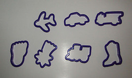 Travel Cookie Cutters Set of 7 Airplane Train Car Firetruck Cowboy Boot ... - $10.38 CAD