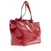 Valentino Garavani Rockstud Large Red Pantent Leather Tote / Bag - $1,750.00