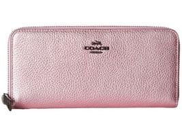 f557dcc8b0b6 COACH – Slim Accordion Zip in Metallic Leather Handbags (Dk/Metallic Blush)  -