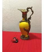 VTG DISTILLERIE BUTON Porcelain Brass Decanter Vine Jug Amphora Anfora  ... - $30.00