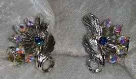 Vintage earrings clip on leafs deep blue Rhinestone Aurora borealis pinks - $18.00