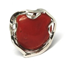 Silver Ring 925, Red Coral Natural Heart, Cabochon, Made in Italy image 2