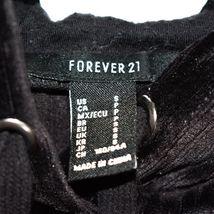 Forever 21 Black Ribbed Velvet Hooded Long Sleeve Pullover Hoodie Size S image 3