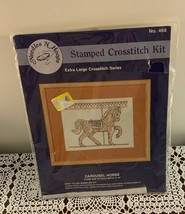Brand New Needles N Hoops Stamped Cross Stitch Kit Carousel Horse 8 x 10... - $10.99