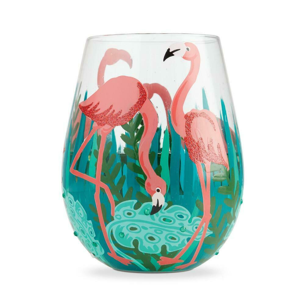 "Fancy Flamingo ""Designs by Lolita"" Stemless Wine Glass 20 o.z. 4.53"" H Giftbox"