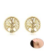 Retro Tree of Life Stud Earrings for Women Gold Tone Stainless Steel pen... - $9.41