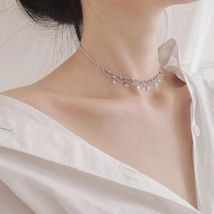 KamakulaShop Dewy Morning Sterling Silver Choker Necklace Evening Bridal - $18.99