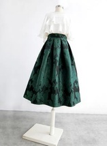 Women Dark Green Pleated Midi Skirt Outfit Pleated Party Skirt Plus Size image 4