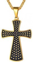 U7 Thick Christ Cross Pendant Necklace Vintage Antique Style 18K Gold Plated - $36.67