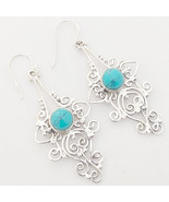 Turquoise Gemstone 925 Sterling Silver Earrings, Handmade Jewelry for Wo... - $29.99