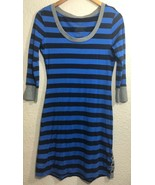 Patagonia Women's Blue/Black Organic Cotton Tencel Striped 3/4 Sleeve Dress Sz S - $34.99