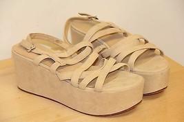 NIB Via Spiga ROBIN Suede Platform Open Peep Toe Sandals Sz 9 M  Cappucc... - $53.03