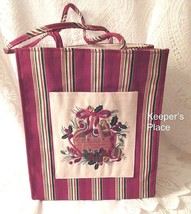Longaberger HOLIDAY STRIPE 2005 Basket Lunch Shopping Gift Tote Bag New  - $14.85
