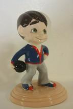 Atlantic Mold Ceramic Bowling Bowler Trophy Boy Mighty Moe Vintage Figurine - $36.58